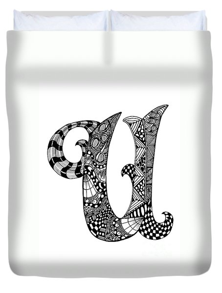 Letter U Monogram Duvet Cover by Nan Wright
