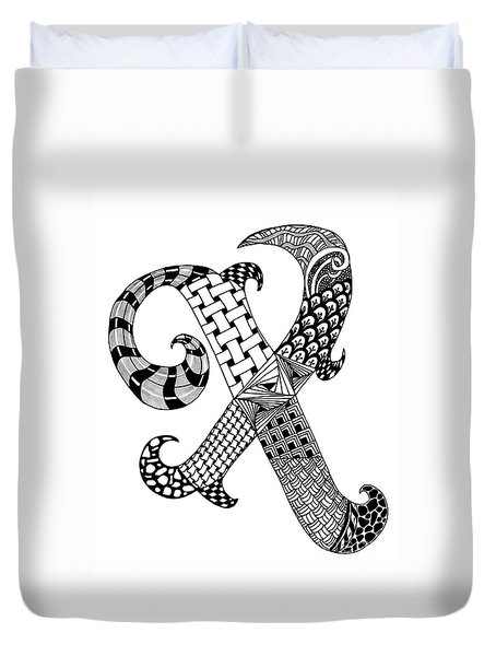 Letter X Monogram Duvet Cover by Nan Wright