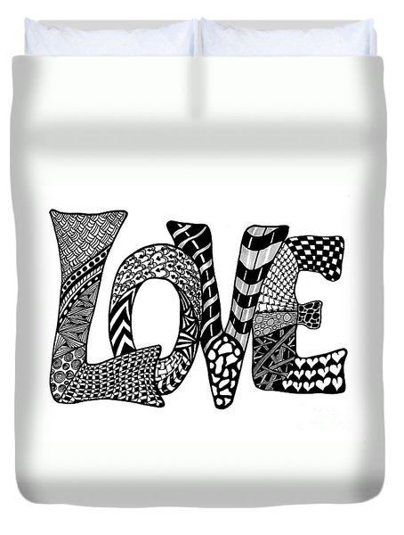 Duvet Cover featuring the drawing Black And White Love  by Nan Wright
