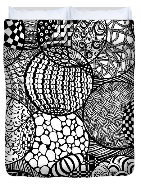 Ornamental Balls In Black And White Duvet Cover by Nan Wright