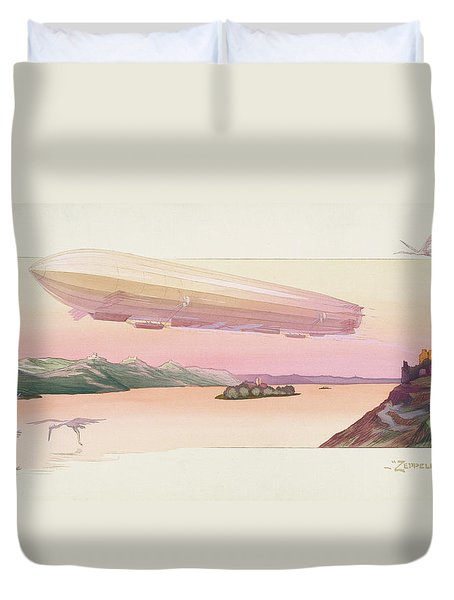 Zeppelin, Published Paris, 1914 Duvet Cover by Ernest Montaut