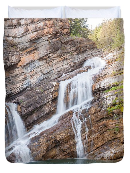 Duvet Cover featuring the photograph Zigzag Waterfall by John M Bailey