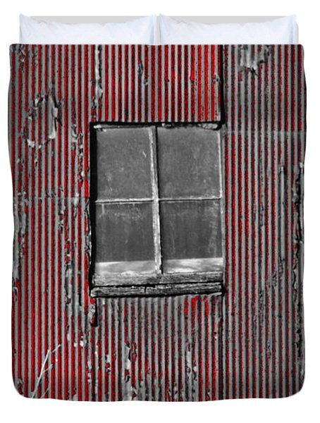 Zink Rd Barn Window Bw Red Duvet Cover