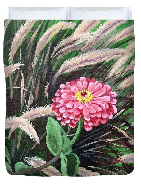 Zinnia Among The Grasses Duvet Cover