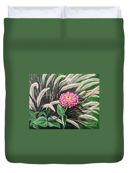 Zinnia Among The Grasses Duvet Cover