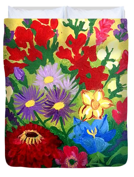 Zinnia And Asters Duvet Cover