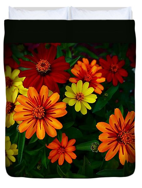 Duvet Cover featuring the photograph Zinnia Kaleidoscope Of Color by Nick Kloepping