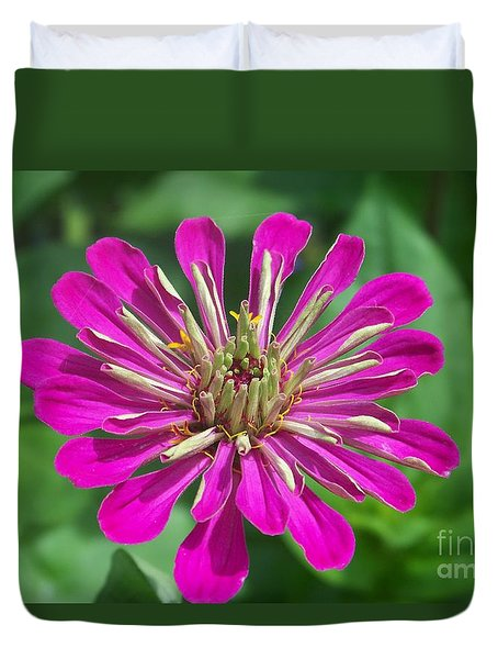 Duvet Cover featuring the photograph Zinnia Opening by Eunice Miller
