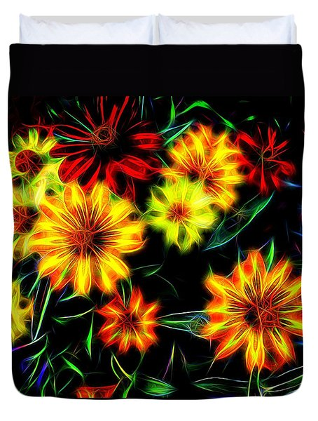 Duvet Cover featuring the digital art Zinnias With Zest by Nick Kloepping