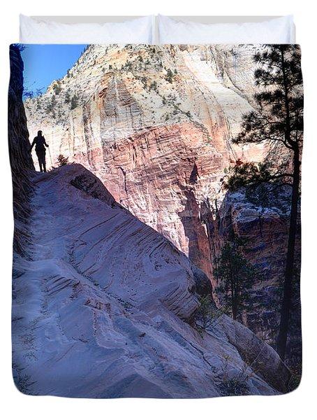 Zion National Park Hiker Climbs Hidden Canyon Trail Duvet Cover by Gary Whitton