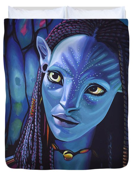 Zoe Saldana As Neytiri In Avatar Duvet Cover
