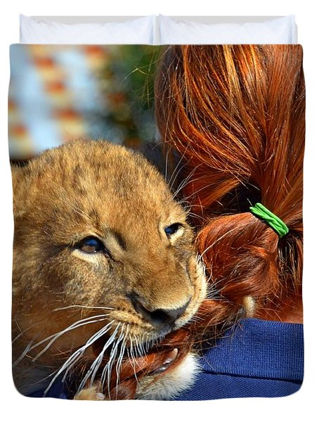 Zootography3 Zion The Lion Cub Likes Redheads Duvet Cover by Jeff at JSJ Photography