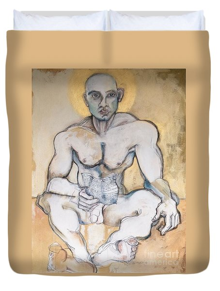 Duvet Cover featuring the painting The Poet by Carolyn Weltman