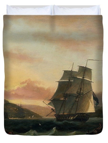 A Brigantine In Full Sail In Dartmouth Harbour Duvet Cover by Thomas Luny