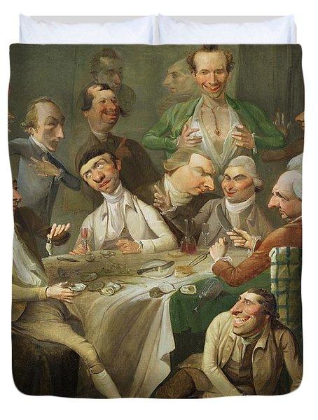 A Caricature Group Duvet Cover by John Hamilton Mortimer