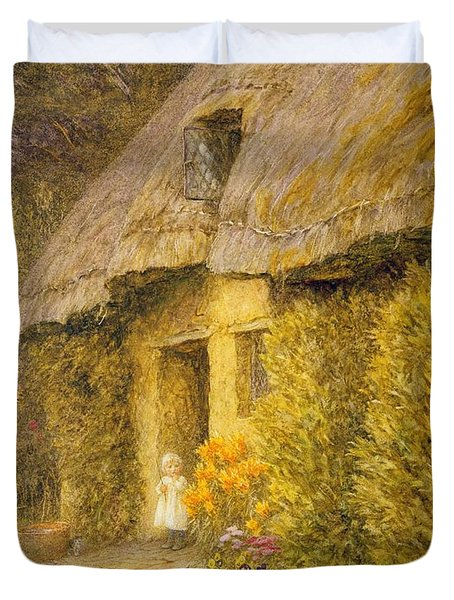 A Child At The Doorway Of A Thatched Cottage  Duvet Cover