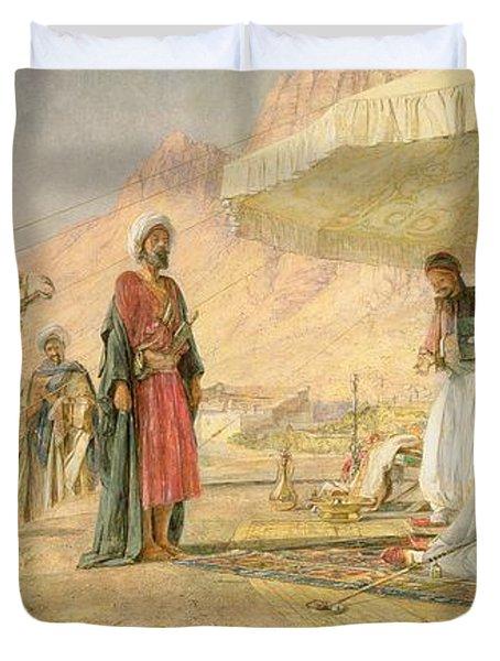 A Frank Encampment In The Desert Of Mount Sinai Duvet Cover by John Frederick Lewis