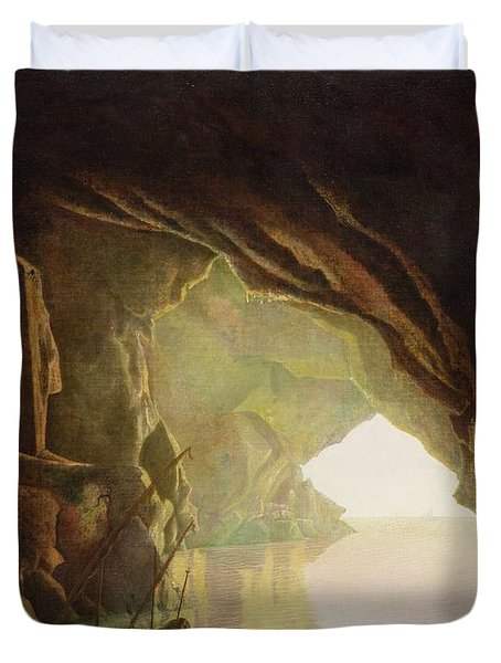 A Grotto In The Gulf Of Salerno - Sunset Duvet Cover by Joseph Wright of Derby