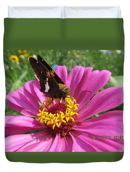 Duvet Cover featuring the photograph  Butterfly On Pink Flower by Tina M Wenger