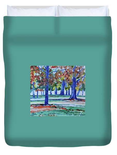 Fall In My Backyard Duvet Cover by Jan Bennicoff