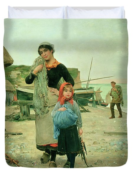 Fisherfolk Returning With Their Nets Duvet Cover by Henry Bacon