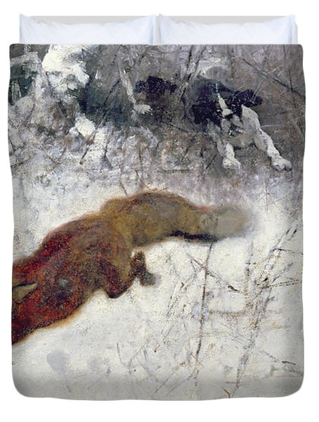 Fox Being Chased Through The Snow  Duvet Cover by Bruno Andreas Liljefors