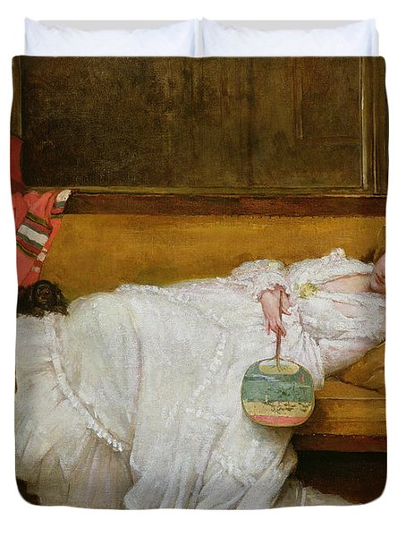 Girl In A White Dress Resting On A Sofa Duvet Cover by Alfred Emile Stevens