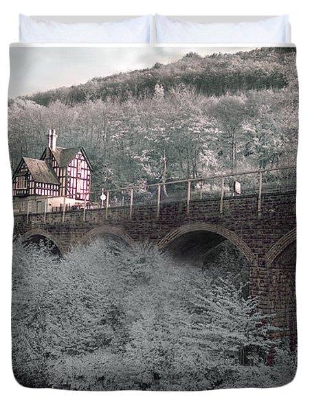 Infrared Train Station Bridge Duvet Cover