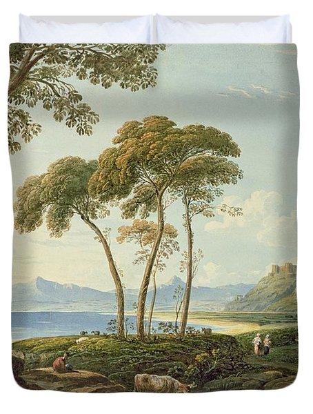Landscape With Harlech Castle Duvet Cover by John Varley