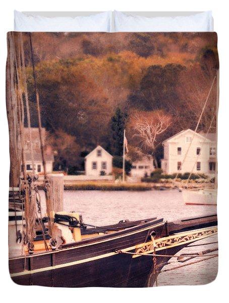 Old Ship Docked On The River Duvet Cover by Jill Battaglia