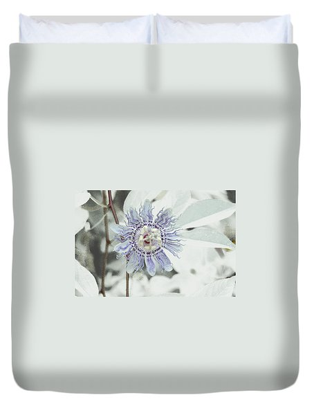 Duvet Cover featuring the photograph  Passion Flower On White by Tom Wurl