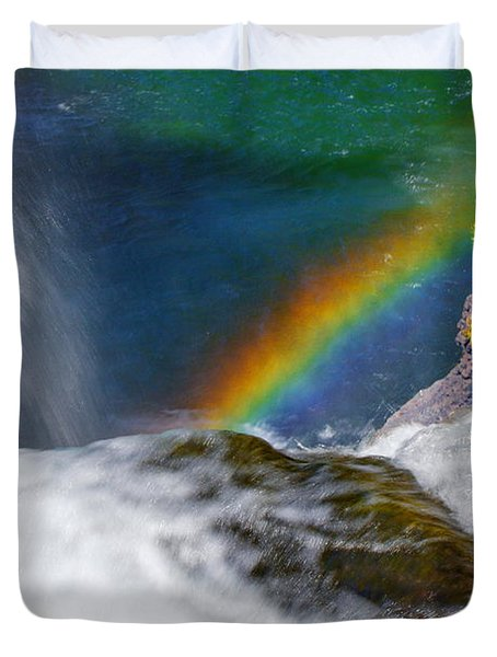 Rainbow By The Waterfall Duvet Cover