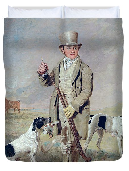 Richard Prince With Damon - The Late Colonel Mellish's Pointer Duvet Cover by Benjamin Marshall