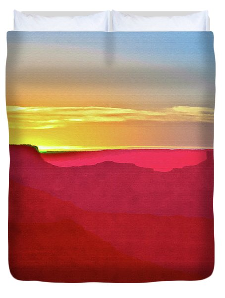 Sunset At Grand Canyon Desert View Duvet Cover by Bob and Nadine Johnston