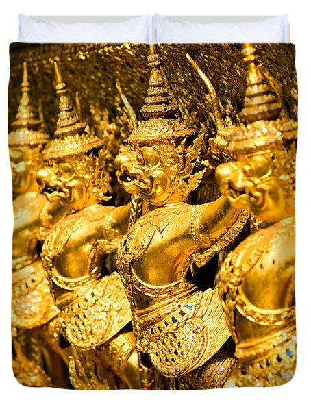 Duvet Cover featuring the photograph  Wat Phra Kaeo by Luciano Mortula