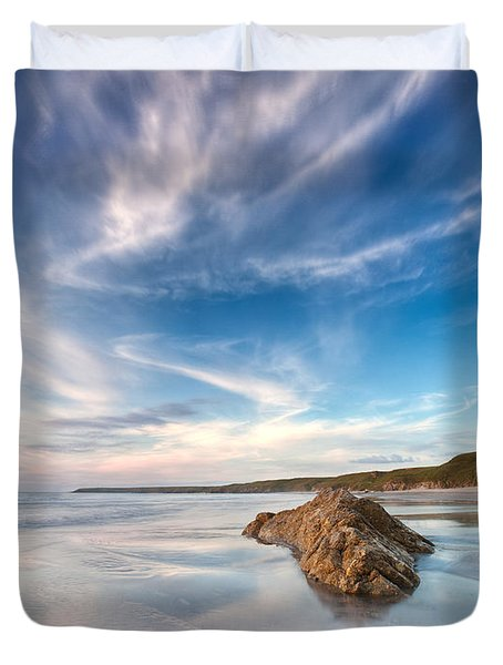 Welsh Coast - Porth Colmon Duvet Cover