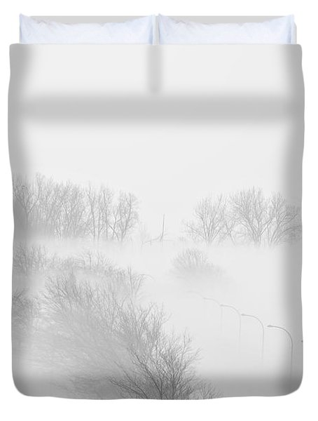 023 Buffalo Ny Weather Fog Series Duvet Cover by Michael Frank Jr