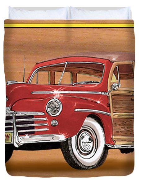 1946 Ford Woody Duvet Cover by Jack Pumphrey