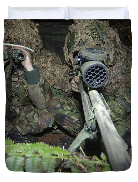 A British Army Sniper Team Dressed Duvet Cover by Andrew Chittock
