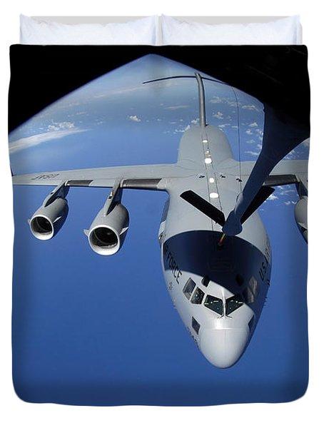 A C-17 Globemaster IIi Receives Fuel Duvet Cover by Stocktrek Images