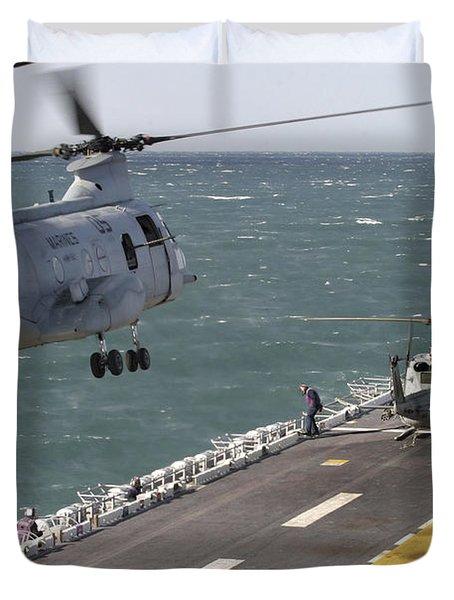 A Ch-46e Sea Knight Helicopter Prepares Duvet Cover