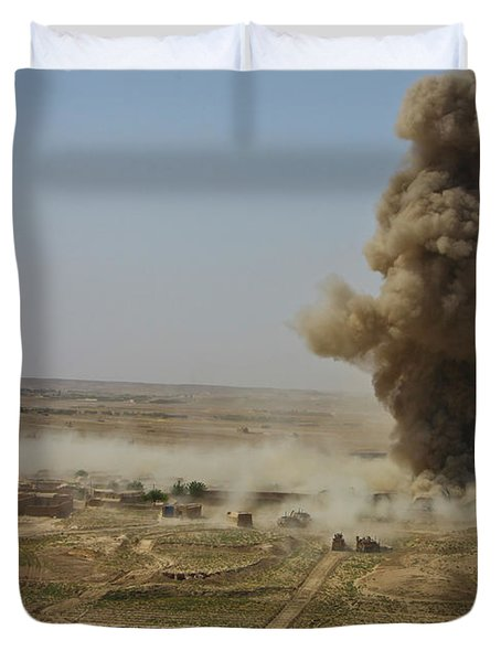 A Cloud Of Dust And Debris Rises Duvet Cover by Stocktrek Images