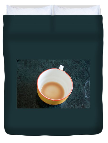 A Cup With The Remains Of Tea On A Green Table Duvet Cover by Ashish Agarwal