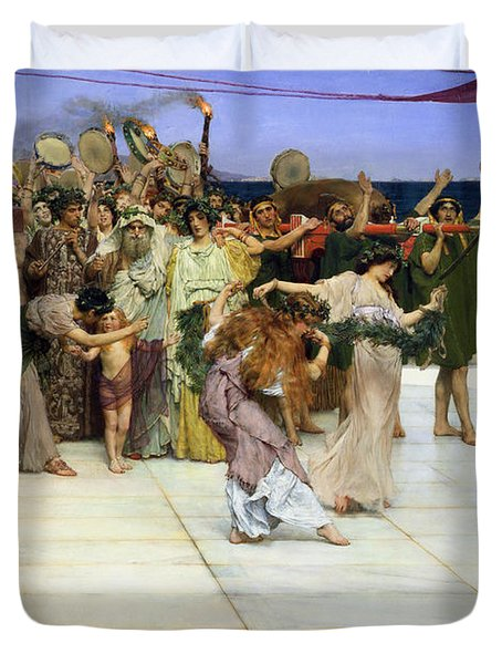 A Dedication To Bacchus Duvet Cover by Sir Lawrence Alma-Tadema