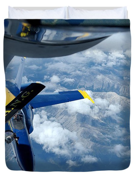 A Kc-135 Stratotanker Refuels An Fa-18 Duvet Cover by Stocktrek Images