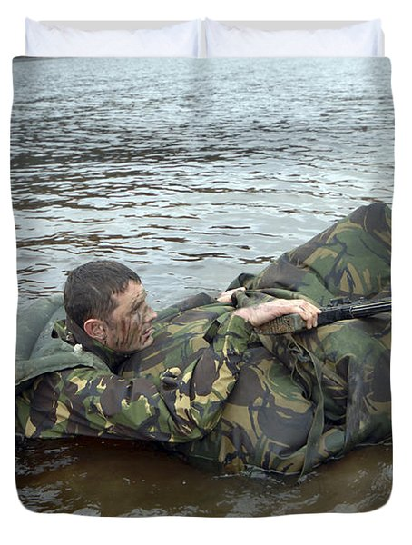 A Soldier Participates In A River Duvet Cover by Andrew Chittock
