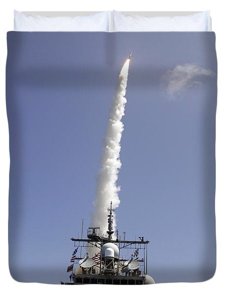 A Standard Missile 2 Is Launched Duvet Cover