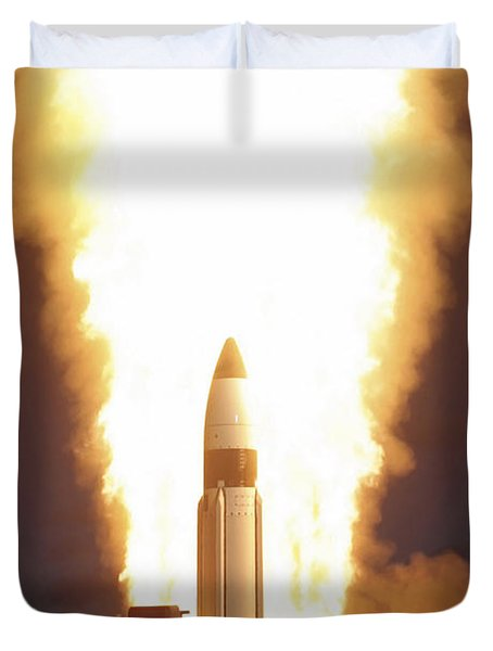 A Standard Missile Three Is Launched Duvet Cover