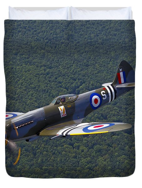 A Supermarine Spitfire Mk-18 In Flight Duvet Cover by Scott Germain