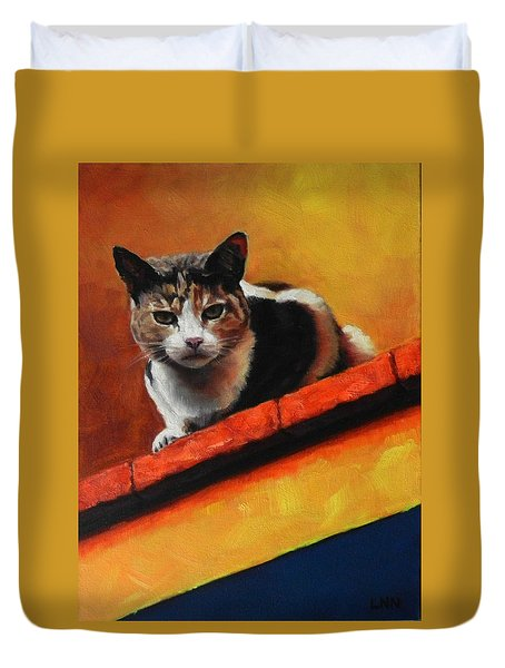A Top Cat In The Shadow, Peru Impression Duvet Cover